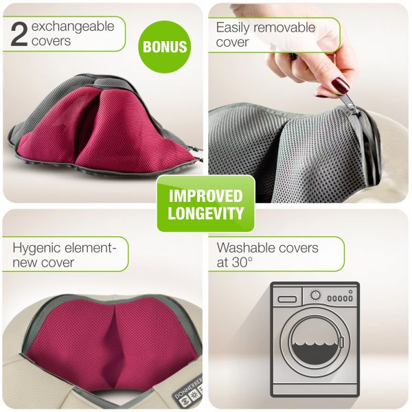 Neck and back massager with washable covers