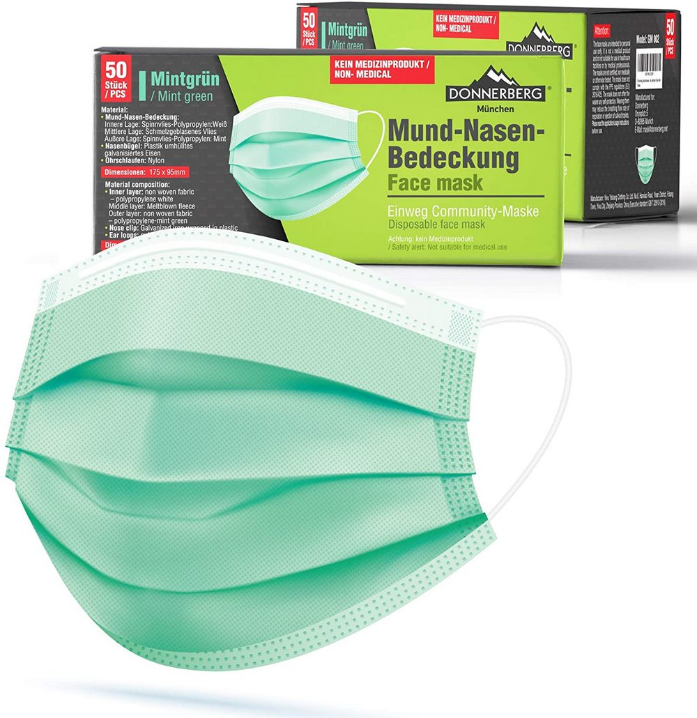 Disposable Face Mask – Pack of 50 – Mint Green